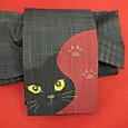 黒猫の柄正絹細帯